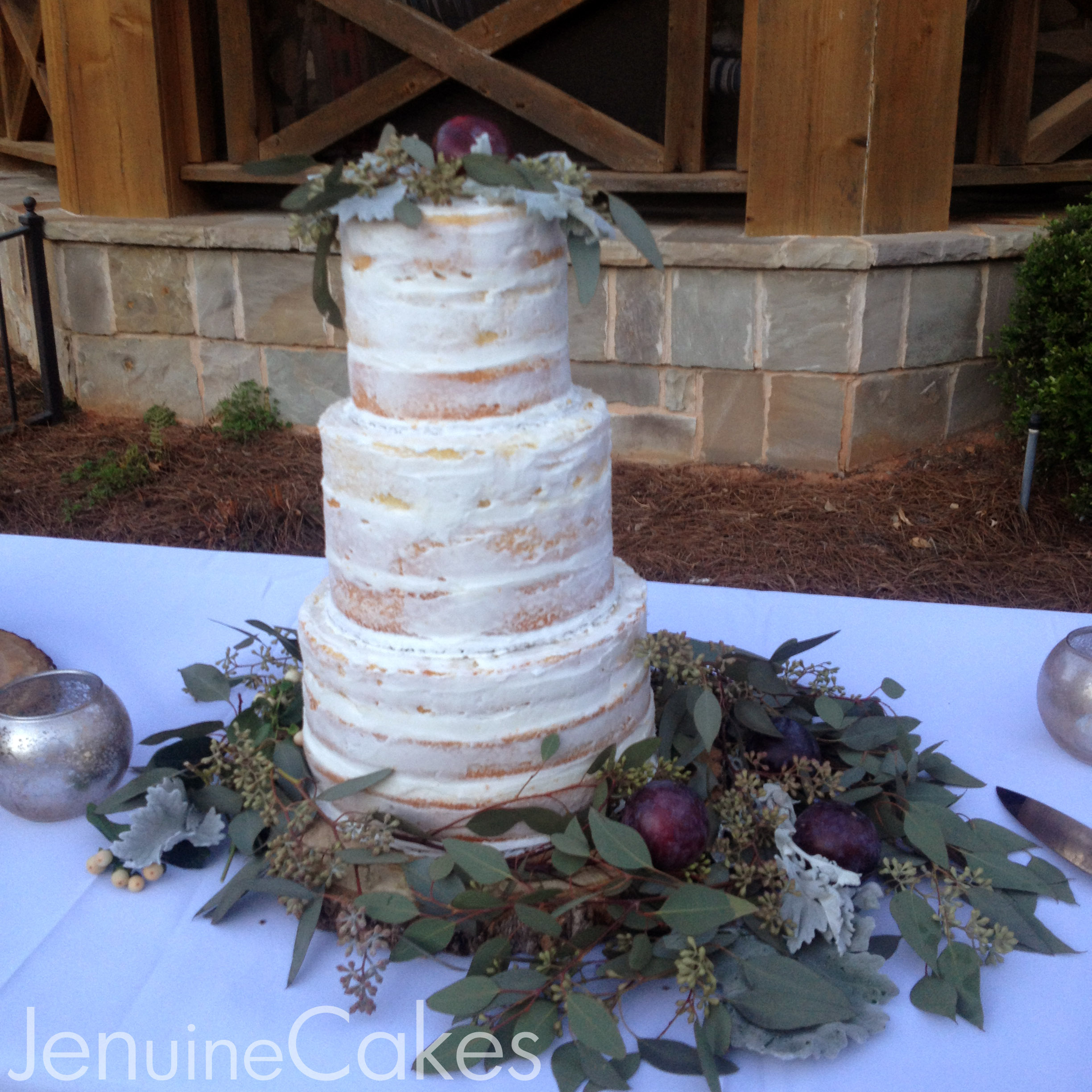 0 Rustic Naked Wedding Cake 1