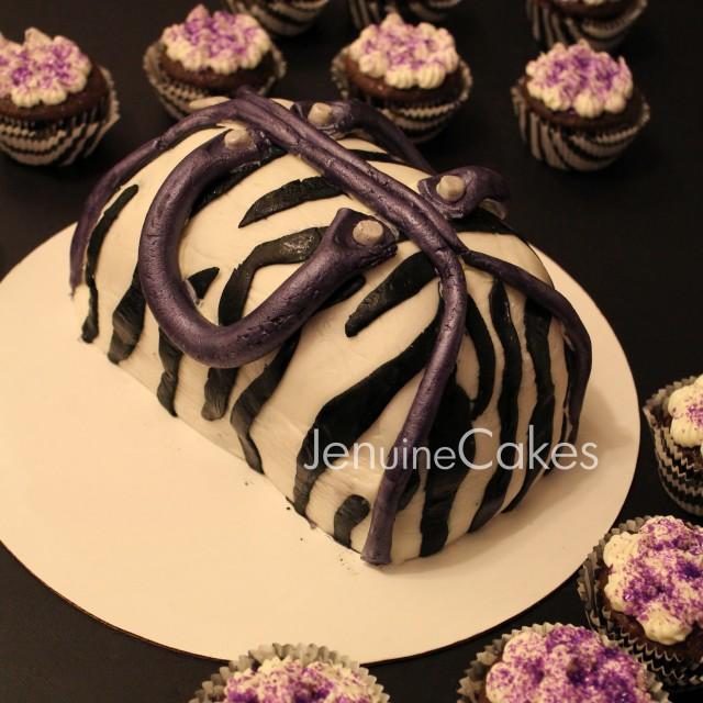 Purple Zebra Print Purse Cake Jenuine Cakes